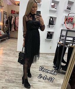 Женское легкое стильное черное миди платье с длинным рукавом (масло и сетка-горох) цвет черный