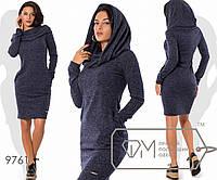 Платье-толстовка мини прямое из ангоры софт с воротником-капюшоном, косыми свободными карманами, 4 цвета