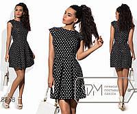 Платье бэби-долл мини из принтованного коттона без рукавов с приталенным лифом и расклешённой, 3 цвета