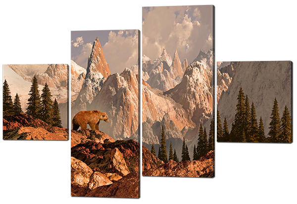 Модульная картина Interno Холст Медведь в горах  126х85см (R468М)