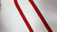 """Ажурная тесьма """"шанель-атласная"""" красная ,ширина 1.2см, фото 1"""
