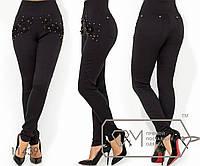 Леггинсы из ткани джинс-стрейч с высокой посадкой, широким поясом, жемчужинами, стразами аппликацией, 1 цвет
