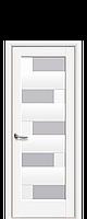 Дверне полотно Піана зі склом сатин колір Білий Матовий