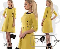 Платье-трапеция мини в стиле шанель из костюмки с контрастной двубортной отделкой лифа, окантовкой, 4 цвета