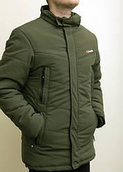 Зимняя мужская куртка Columbia зеленая с теплым капюшоном