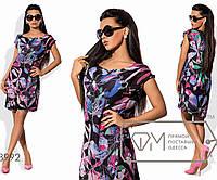 Платье-туника мини прямое из принтованного шифона на подкладе с круглым вырезом и асимметричным, 1 цвет