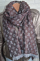 Палантин шарф в стиле Louis Vuitton (Луи Витон) коричнево-серый