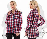 Рубашка-фрак в стиле сафари из коттона с воротником-кент, длинными рукавами на патиках, 3 цвета