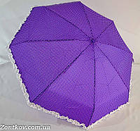 """Карманный зонтик в горошек и с рюшей по куполу от фирмы """"Feeling Rain"""""""