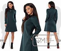 Платье-трапеция мини из франц.трикотажа с длинными рукавами, пуговичками на отрезном лифе, 3 цвета