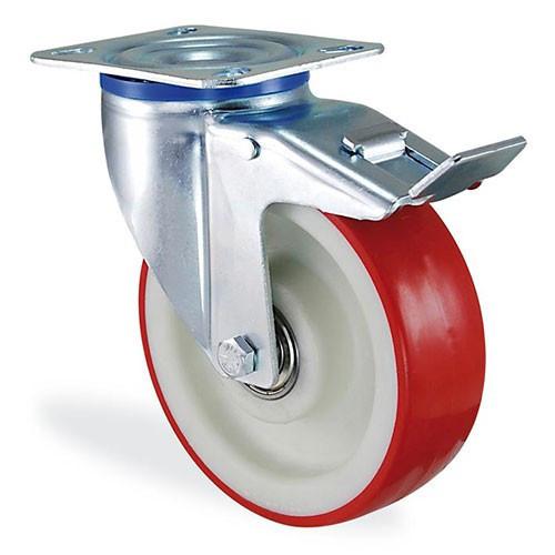 Колеса поворотное с крепёжной панелью и тормозом из полиамида 4104-ST-200-B