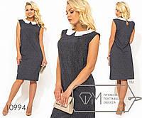 24db9470529a Платье шифт из вискозы прямого кроя без рукавов с контрастный воротником  питер пэн (принт горошек