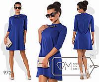 Платье-трапеция мини из трикотажа алекс с зауженными рукавами 3/4 и декором-бусами на передней, 3 цвета
