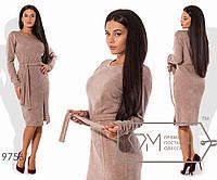 Платье-футляр миди из ангоры приталенное под пояс с круглым вырезом, зауженными рукавами и разрезом, 2 цвета