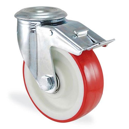 Колесо поворотное с отверствием и тормозом из полиамида 4106-ST-100-B Standart