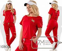 Спортивный костюм из двунитки с декоративными разрезами в области лифа, рукавах, спинке и коленях, 3 цвета