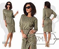 Платье-туника миди прямое из трикотажа джерси под пояс с рукавами 3/4 и косым передним разрезом, 2 цвета