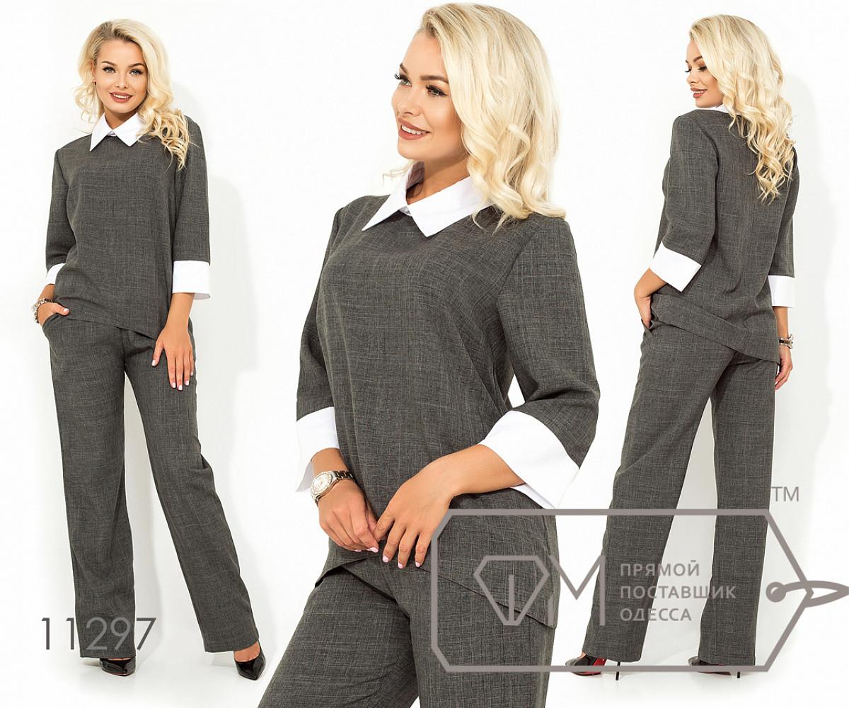 Костюм-двойка из габардина блуза со шлейфом, имитацией рубашки из коттона и рукавами 3/4, брюки, 2 цвета