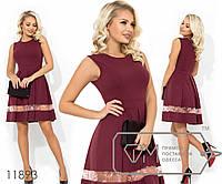 Короткое платье без рукавов с отрезной талией, вставкой из сетки+вышивка на юбке в складку, 2 цвета