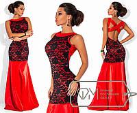 Платье в пол без рукавов приталенное из королевского атласа с отделкой узорным гипюром и декольте Цвет красный 5732