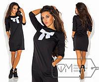 1ccc0dc700d Повседневное платье мини прямое из трикотажа с длинным рукавом и бантом на  груди Цвет черный 5458