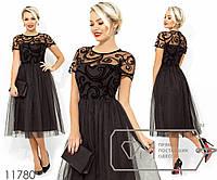 Платье-миди с двустороней кокеткой из флока на сетке, завышенной талией и юбкой из софта+фатин, 2 цвета