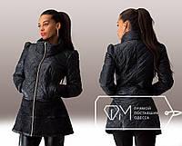 Куртка удлинённая приталенная стёганая на синтепоне с воротником-хомут, буфами и отделкой из гипюра, 1 цвет