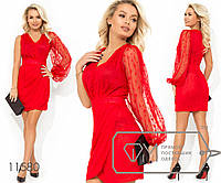 Платье-мини с V-образным вырезом одним рукавом-фонарик втачным поясом и юбкой с имитацией запаха, 1 цвет