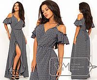 Платье-халат из софта на запах, бретелях с открытыми плечами коротким рукавом-волан и асиметричным, 3 цвета