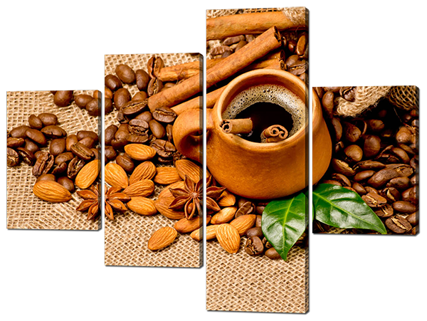 Модульная картина Interno Эко кожа Миндаль и кофе 146x109см (A499L)