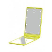 Зеркало косметическое для макияжа с LED подсветкой (зеленый)