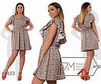 7e690164d26 Платье беби-долл мини из летнего джинса без рукавов с оборками-крылышками