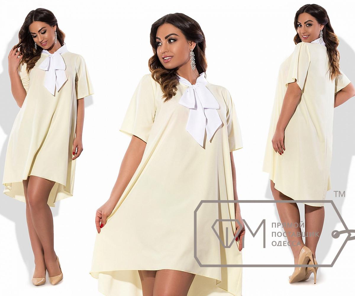 Платье-трапеция мини из софта с короткими широкими рукавами, асимметричным подолом и длинным, 1 цвет