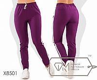 Штаны прямые из костюмки в стиле спорт шик с высокой посадкой на резинке и кулиске, с контрастными, 1 цвет