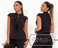 Черная классическая блуза-жабо из софта с коротким рукавом  воротником-стойка на застежке и 59dc9cab9ccdf
