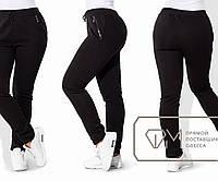 Штаны в спортивном стиле из трёхнитки на флисе с фигурными карманами на кожаных молниях, 2 цвета