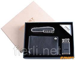 Подарочный набор зажигалка/нож/визитница