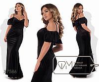 Платье-сарафан макси покроя русалка из бархата на тонких бретельках с глубоким вырезом лифа на косточках, 1 цв
