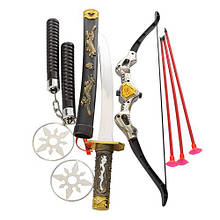 Набір Ніндзя 8610 меч, нунчаки, катана, піхви, сюрекены, лук, стріли