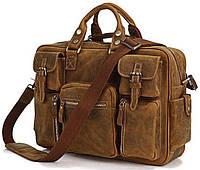 Сумка мужская Vintage 14051 в винтажном стиле Коричневая, Коричневый, фото 1