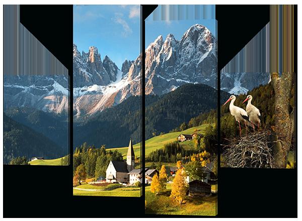 Модульная картина Interno Эко кожа Закарпатский пейзаж 146x108см (A415L)