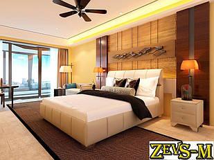 Ліжко двоспальне з мякою спинкою спальню Zevs-M Барселона 140*190
