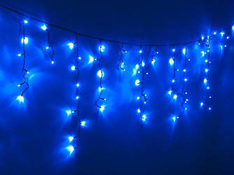 Гирлянда УЛИЧНАЯ  Бахрома(сосульки) 100 LED 8mm 3 метра,70/60/50 см,на черном проводе синяя