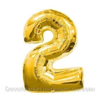 """Цифра фольгированная """"2"""", ЗОЛОТО  - 70 см (30 дюймов), фото 2"""