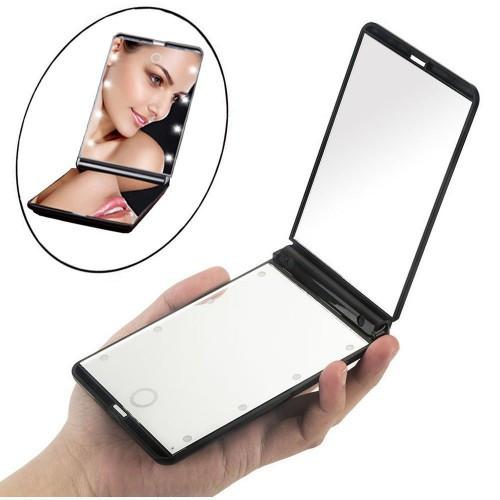 Зеркало складное для макияжа с LED подсветкой (розовый)