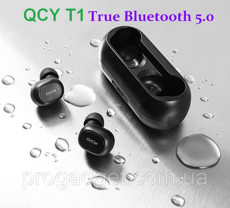 QCY T1C Bluetooth 5.0 Black -  легкие и компактные бинауральные беспроводные музыкальные наушники ipx4
