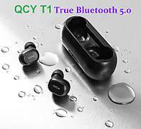 QCY T1C Bluetooth 5.0 Black -  легкие и компактные бинауральные беспроводные музыкальные наушники ipx4, фото 1