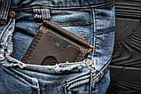 Затискач для купюр шкіряний mod.Fix S коричневий, фото 9