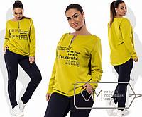 Спорткостюм из кукурузы - туника-фрак на молниях с принтом и приталенные штаны, 3 цвета