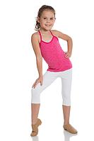 Белые споортивные укороченные леггинсы  для танцев гимнастики хореографии хлопок